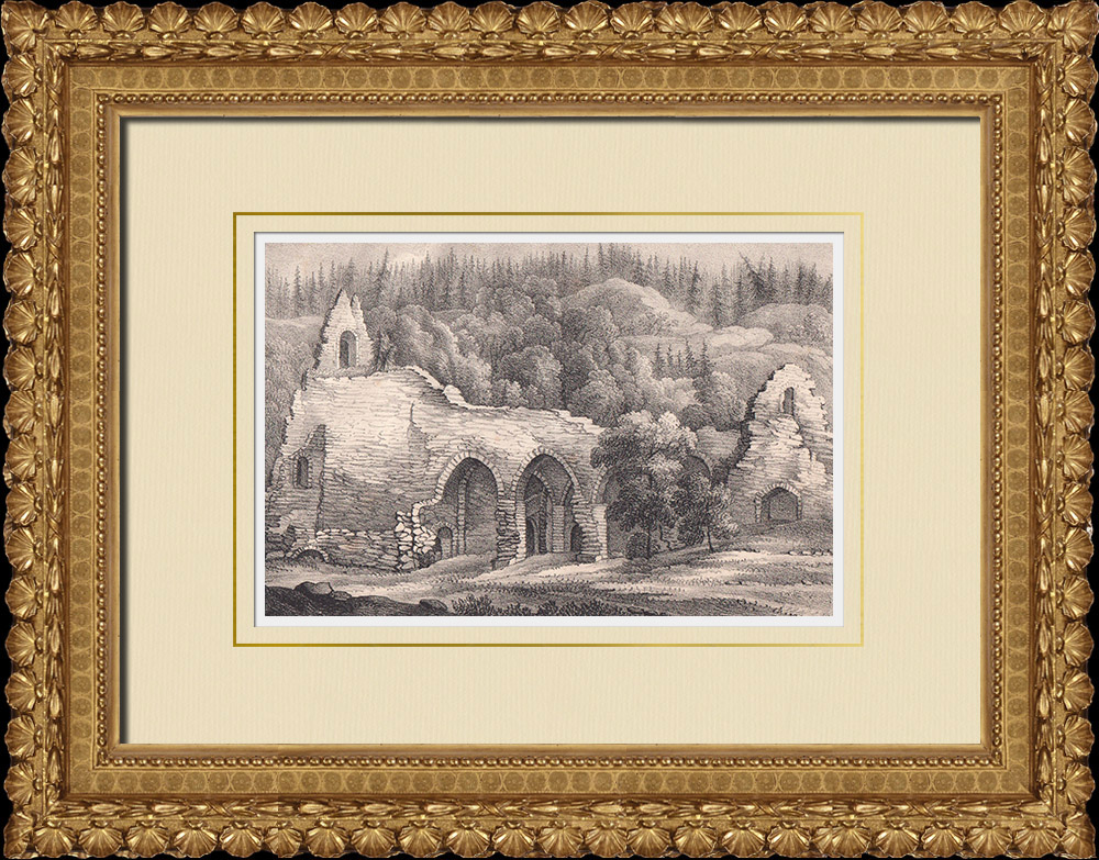 Antique Prints & Drawings | Ruins of Alvastra Abbey - Östergötland (Sweden) | Lithography | 1840
