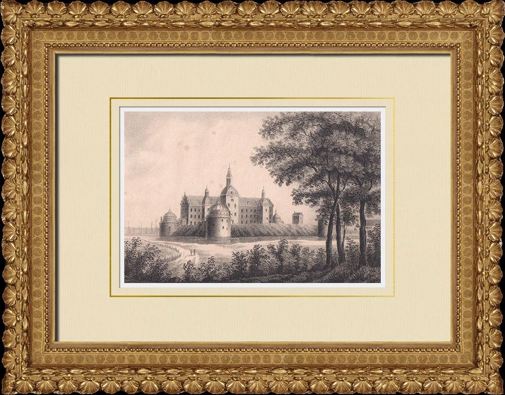 Gravures Anciennes & Dessins | Château de Vadstena - Renaissance - Ostergötland (Suède) | Lithographie | 1840