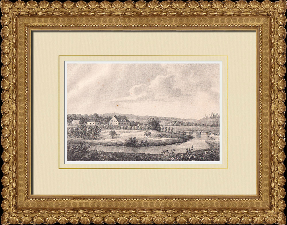 Stampe Antiche & Disegni | Mansion di Götarsvik - Östergötland (Svezia) | Litografia | 1840