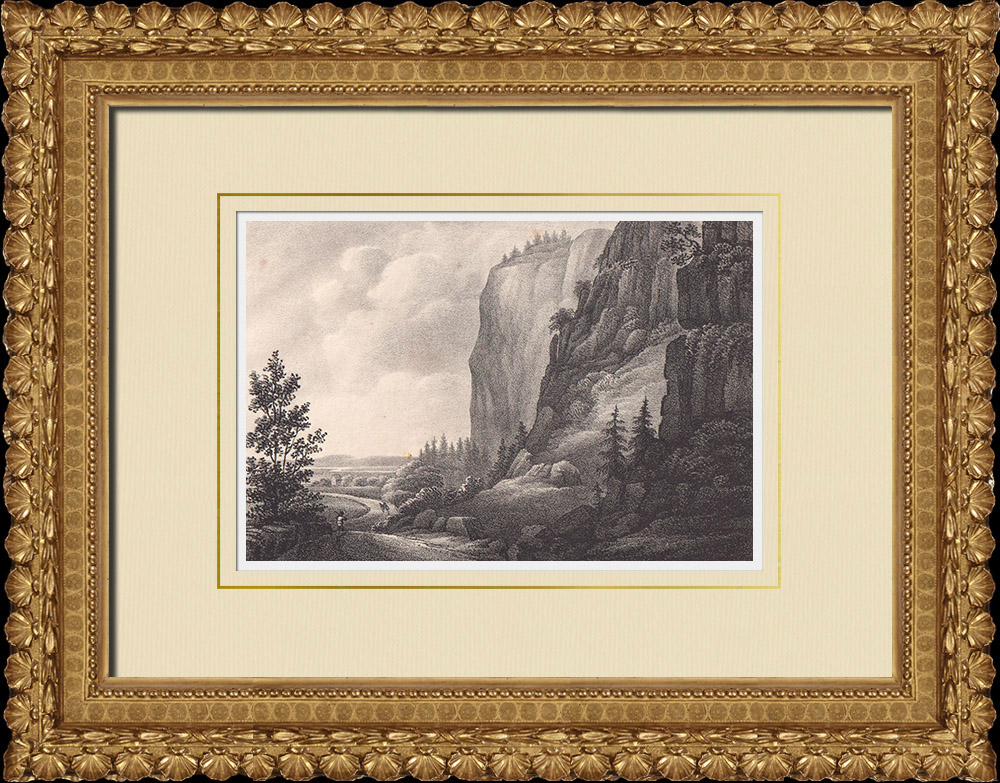 Antique Prints & Drawings   Halleberg Precipice - Ättestupa - Vänersborg - Västergötland (Sweden)   Lithography   1840