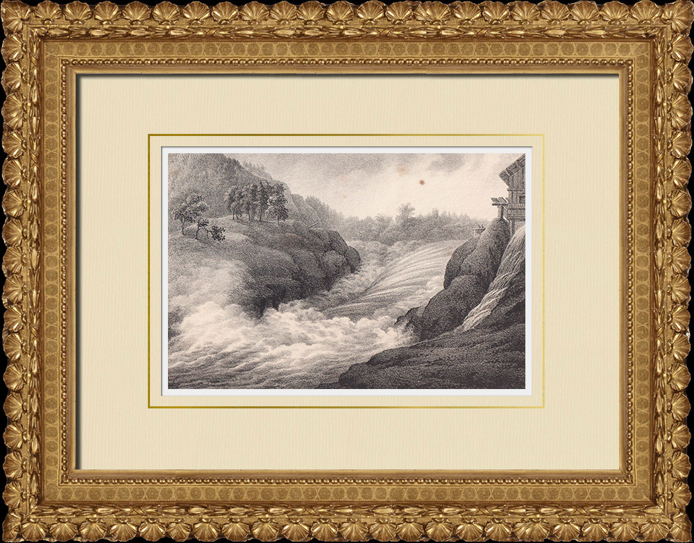 Gravures Anciennes & Dessins | Chutes de Trollhättan - Fleuve Göta älv - Västergötland (Suède) | Lithographie | 1840