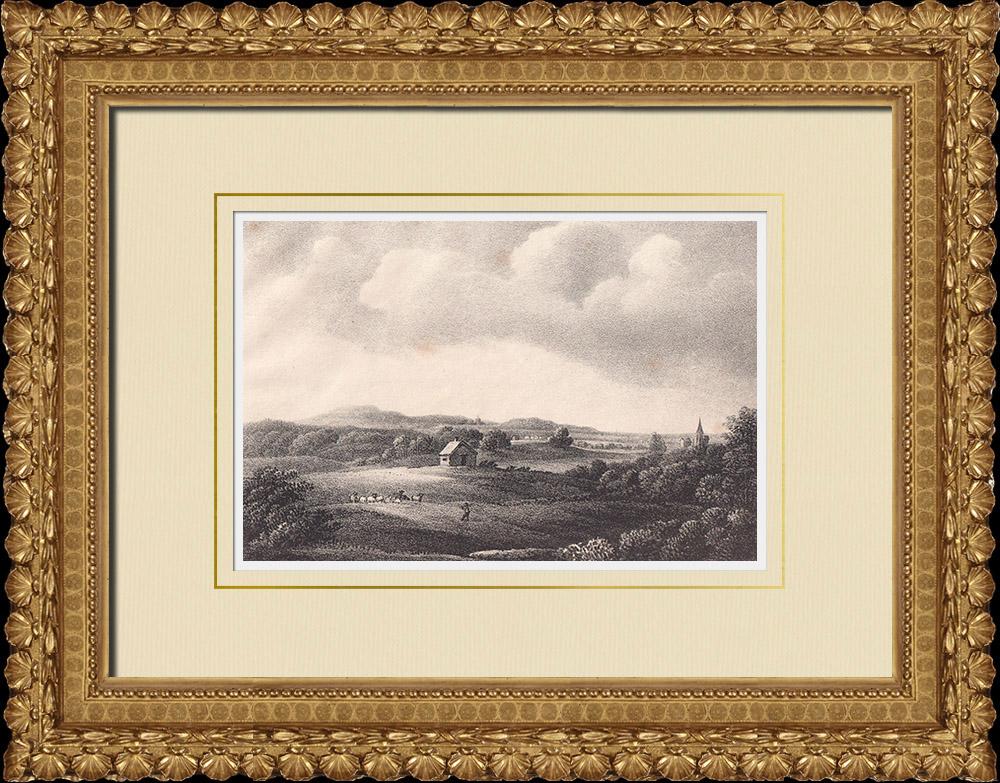 Stampe Antiche & Disegni | Vista di Kinnekulle - Götene - Västergötland (Svezia) | Litografia | 1840