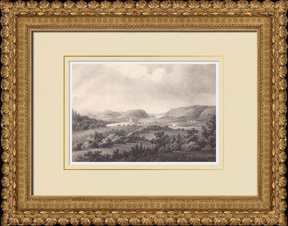 Antique Prints & Drawings | Göta älv near Edet - Västergötland (Sweden) | Lithography | 1840
