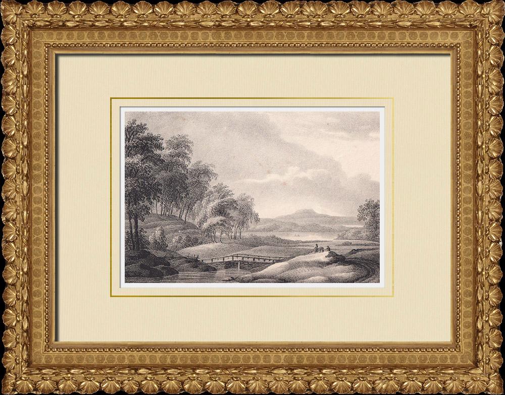 Gravures Anciennes & Dessins | Vue de Kinnekulle - Götene - Västergötland (Suède) | Lithographie | 1840
