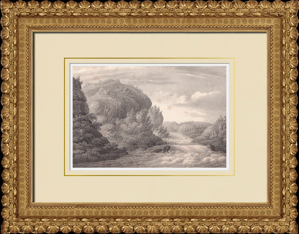 Antique Prints & Drawings | Hell Falls - Trollhättan Falls - Göta älv - Västergötland (Sweden) | Lithography | 1840