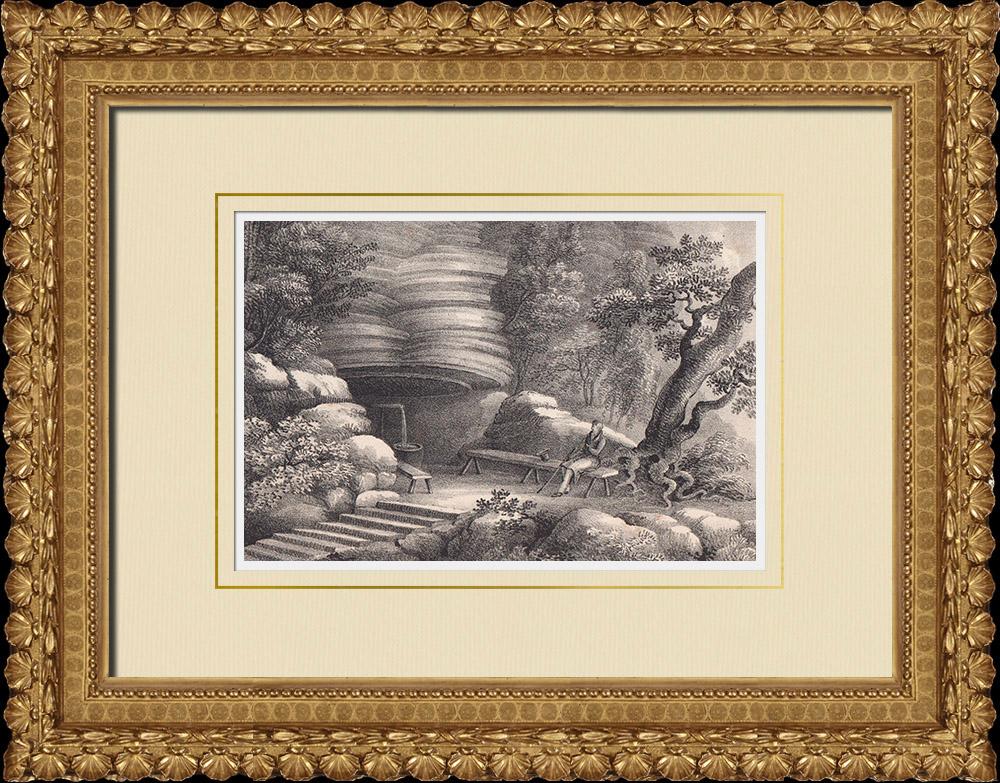 Stampe Antiche & Disegni | Morkeklefs grotta - Kinnekulle - Västergötland (Svezia) | Litografia | 1840