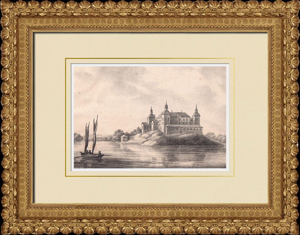 Antique Prints & Drawings   Läckö Castle - Vänern lake - Västergötland (Sweden)   Lithography   1840