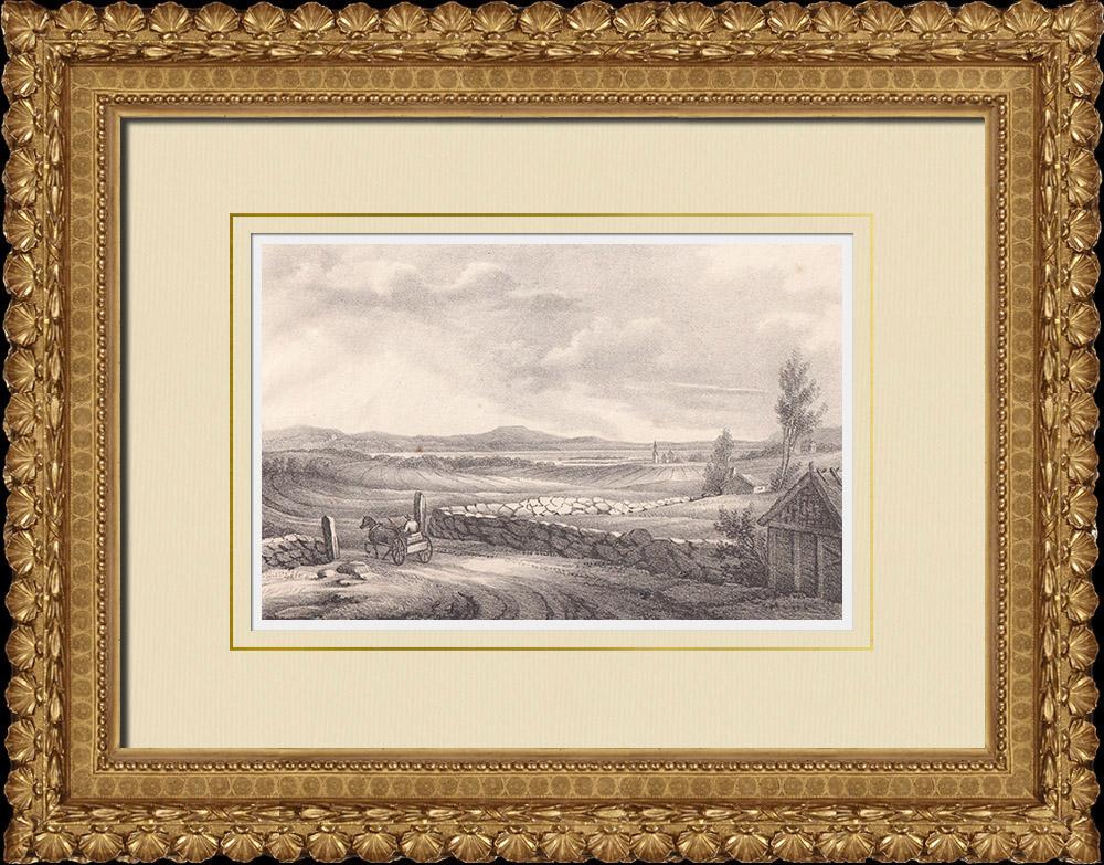 Antique Prints & Drawings   View of Gudhem - Church - Dagsnäs - Hornborga lake - Västergötland (Sweden)   Lithography   1840