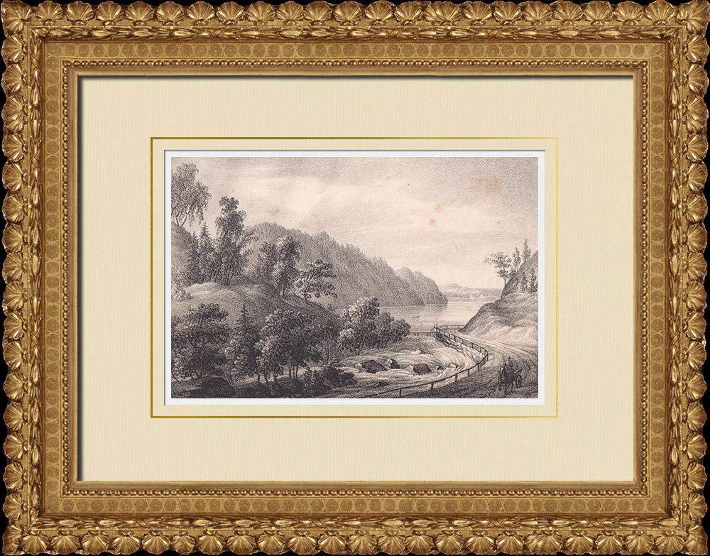 Stampe Antiche & Disegni | Alströmerska vägen - Lago Aspen - Västergötland (Svezia) | Litografia | 1840
