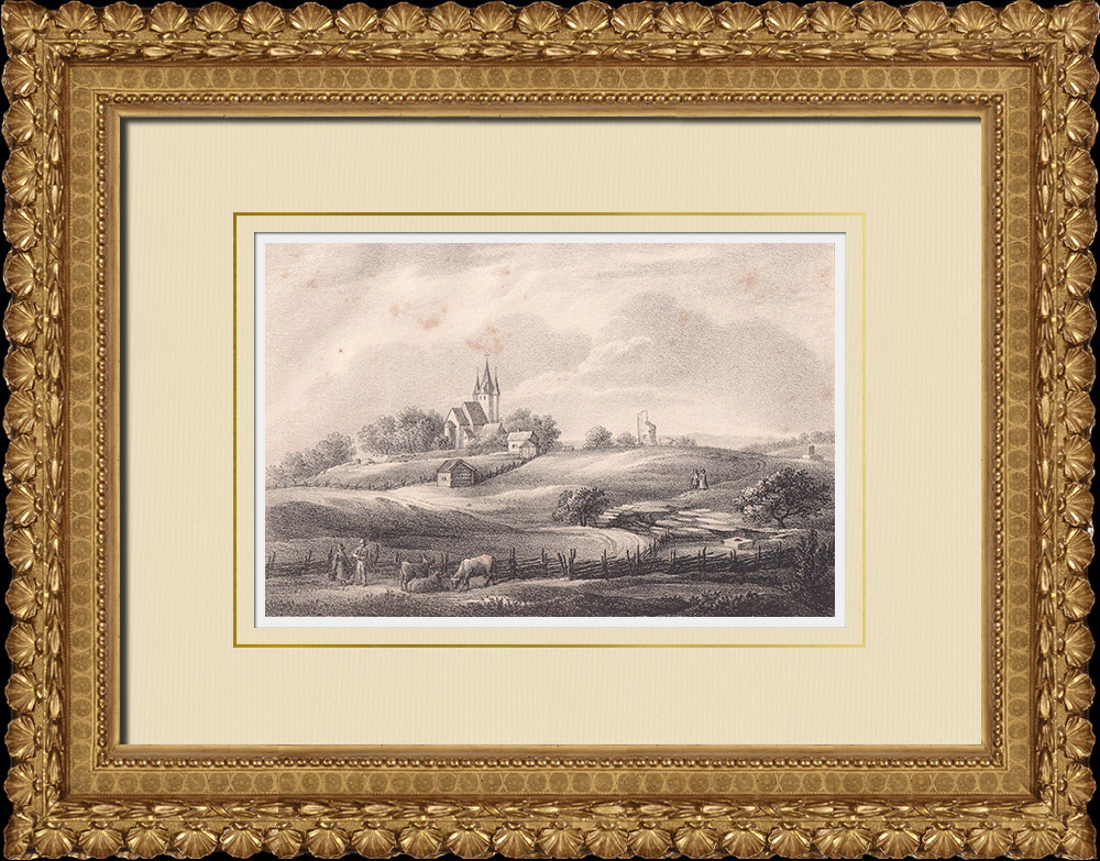 Antique Prints & Drawings | Husaby Church - Götene - Ruins of the St Siegfried fountain - Västergötland (Sweden) | Lithography | 1840