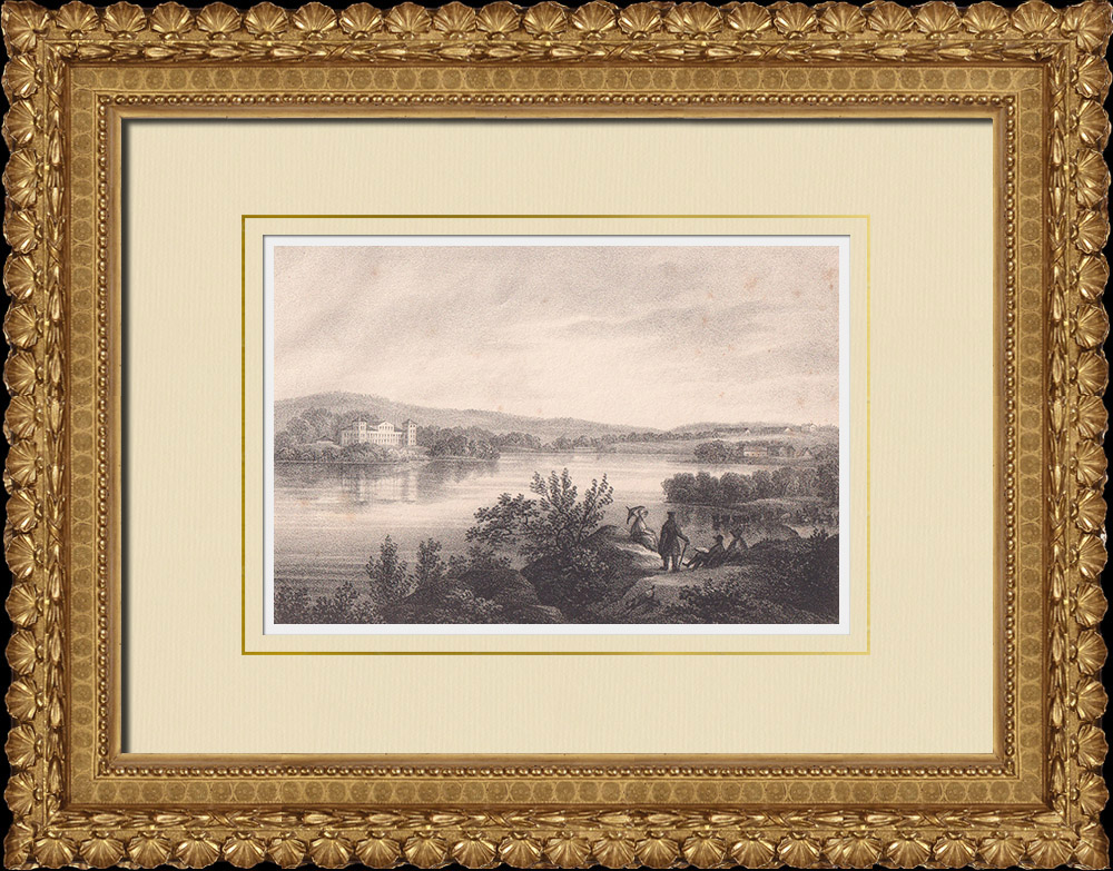 Stampe Antiche & Disegni | Veduta di Gräfsnäs - Castello - Alingsås - Västergötland (Svezia) | Litografia | 1840