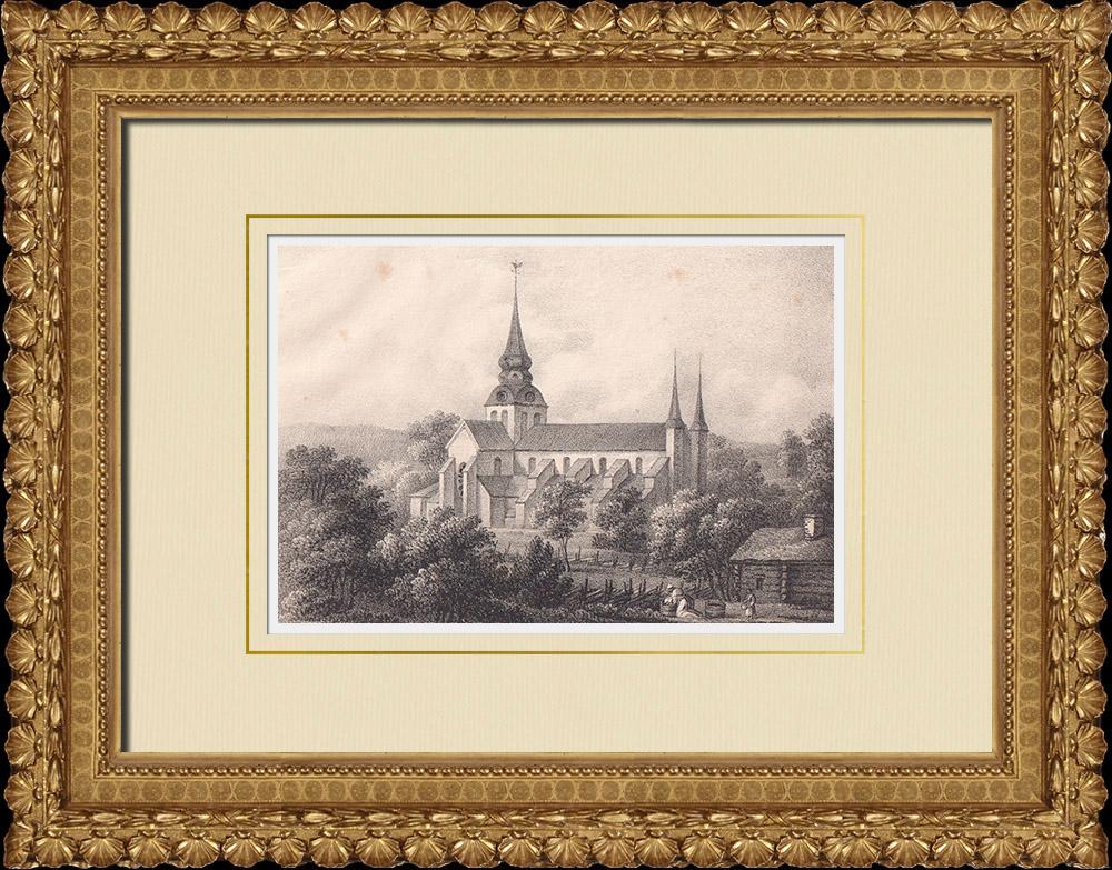 Antique Prints & Drawings   Varnhem Abbey - Skara - Västergötland (Sweden)   Lithography   1840