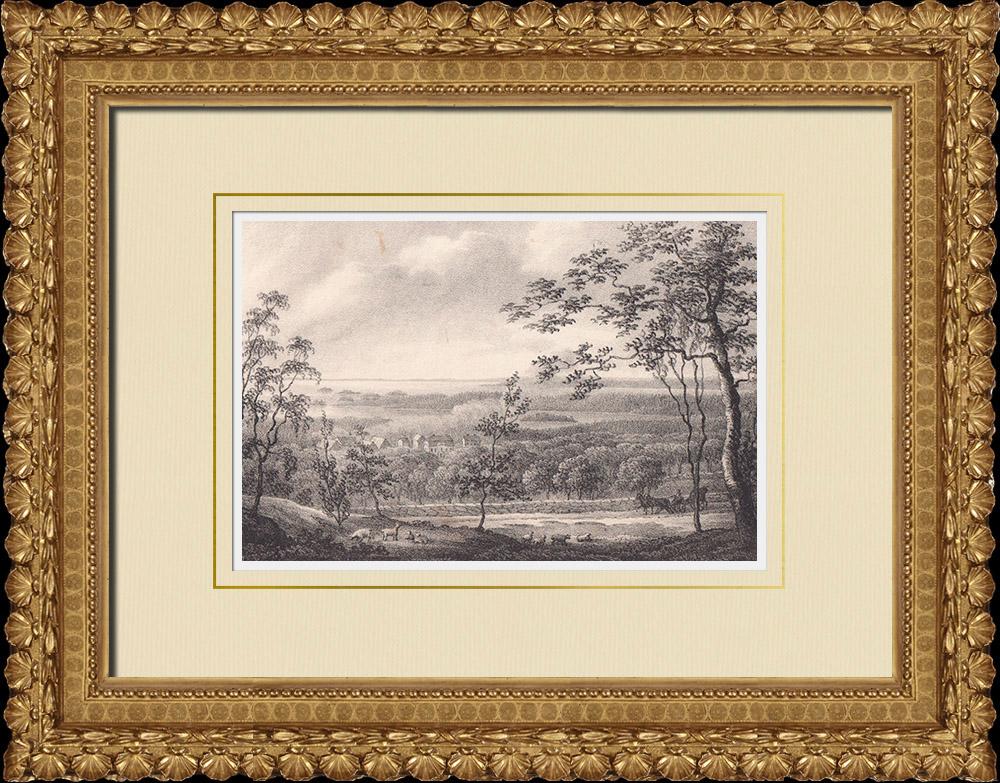 Grabados & Dibujos Antiguos | Vista de Hönsäter - Kinnekulle - Vestrogotia (Suecia) | Litografía | 1840