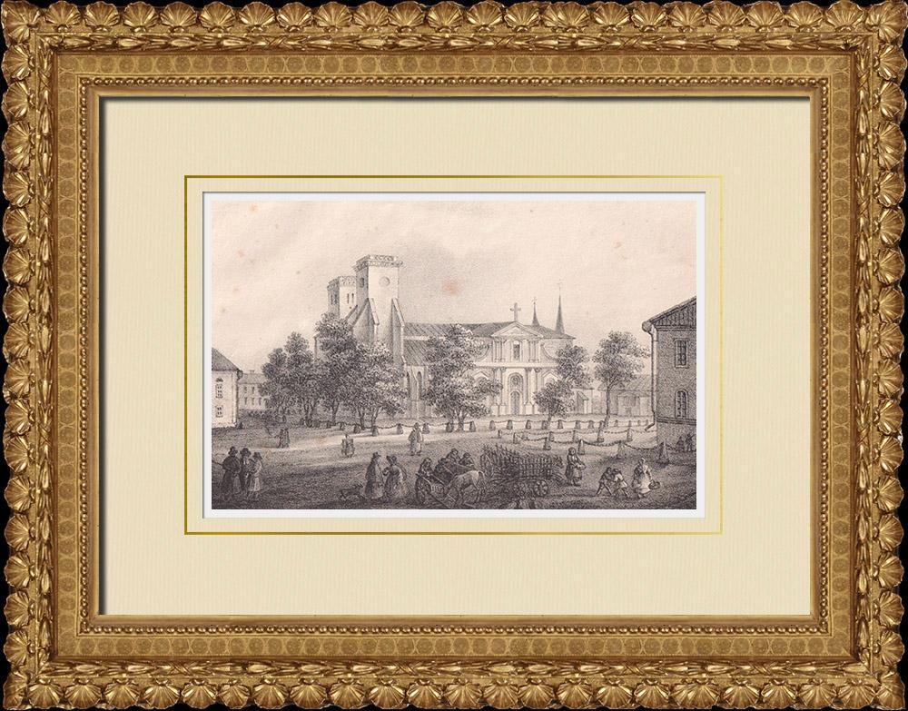 Stampe Antiche & Disegni | Cattedrale di Skara - Scuola - Västergötland (Svezia) | Litografia | 1840