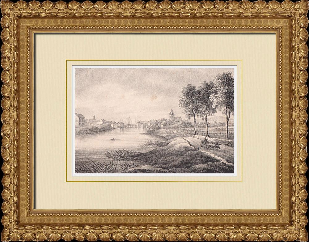 Antique Prints & Drawings | View of Lidköping - Lidan River - Vänern lake - Västergötland (Sweden) | Lithography | 1840