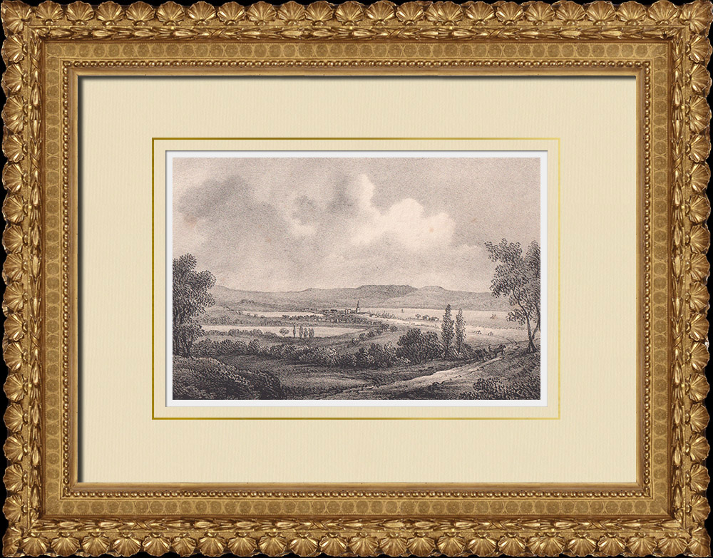 Antique Prints & Drawings   View of Jönköping and Dunkehalla - Småland (Sweden)   Lithography   1840