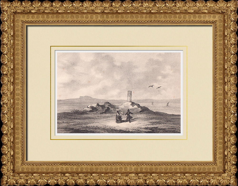 Antique Prints & Drawings | Remains of Magnus Ladulås Castle - Visingsö - Vättern lake - Småland (Sweden) | Lithography | 1840