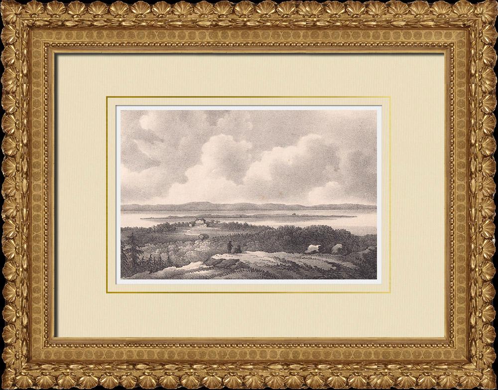 Antique Prints & Drawings | View of Visingsö - Vättern lake - Småland (Sweden) | Lithography | 1840