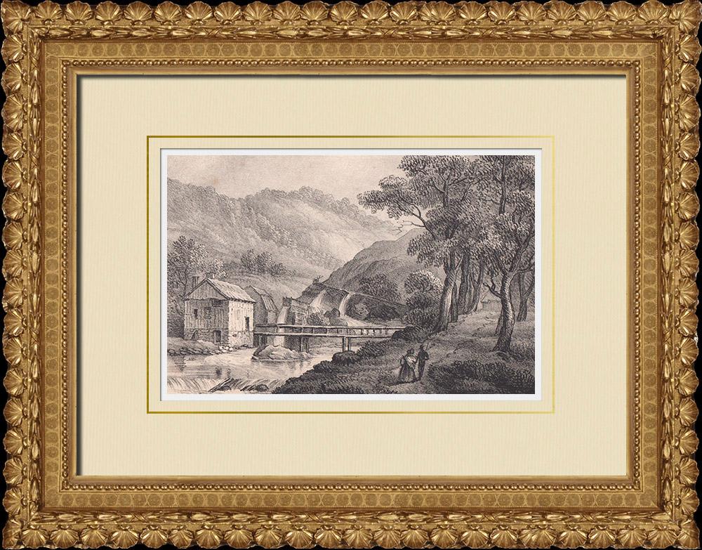 Stampe Antiche & Disegni | Fabbrica a Huskvarna - Jönköping - Småland (Svezia)  | Litografia | 1840