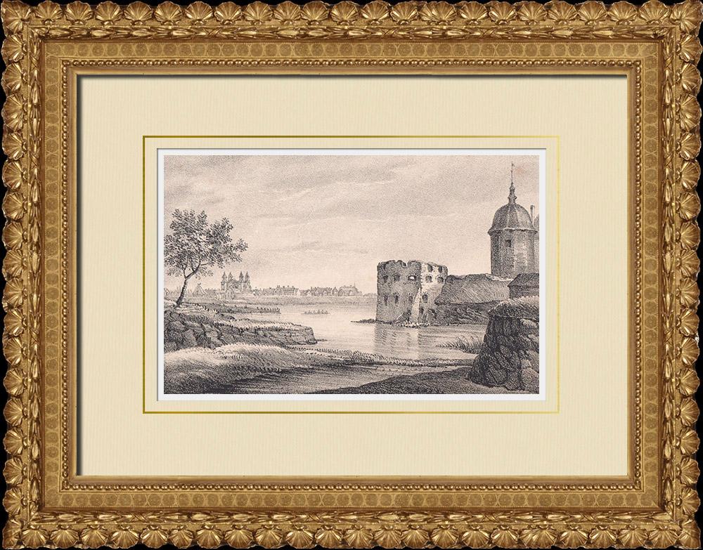Antique Prints & Drawings   View of Kalmar - Kalmar Strait - Castle - Småland (Sweden)   Lithography   1840