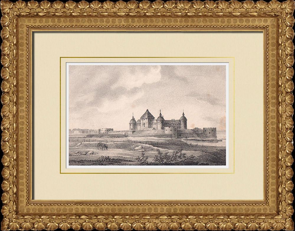 Grabados & Dibujos Antiguos | Castillo de Kalmar - Estrecho de Kalmar - Magnus Ladulås - Småland (Suecia) | Litografía | 1840