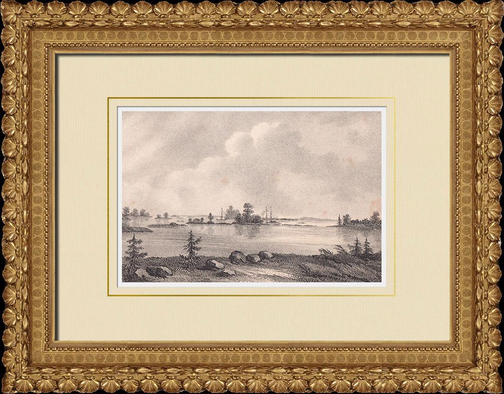Antique Prints & Drawings | Port of Pataholm - Mönsterås - Kalmar Strait - Småland (Sweden) | Lithography | 1840