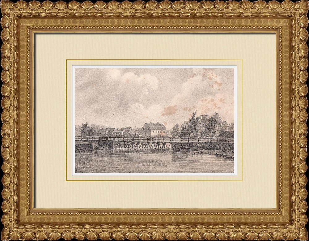 Stampe Antiche & Disegni | Mansion di Krankelösa - Kalmar - Ljungby - Lagan - Fiume - Småland (Svezia) | Litografia | 1840