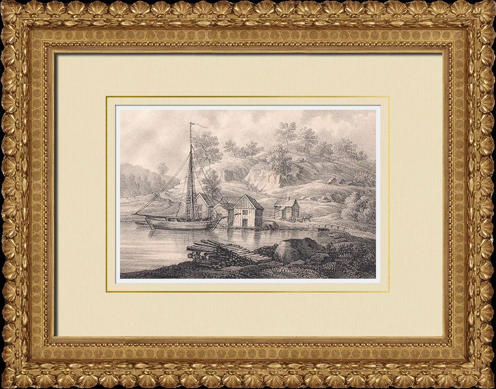 Antique Prints & Drawings | Werkebäck port - Gladhammar - Småland (Sweden) | Lithography | 1840