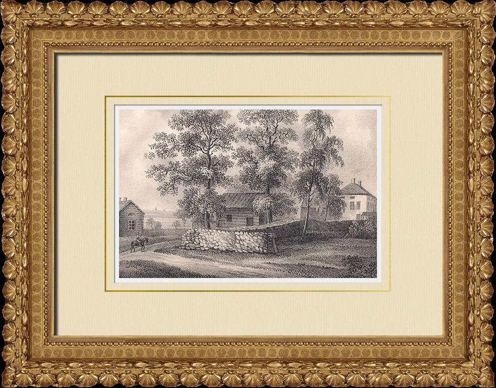 Grabados & Dibujos Antiguos | Vista del Castillo de Gränsö cerca de Västervik - Småland (Suecia) | Litografía | 1840
