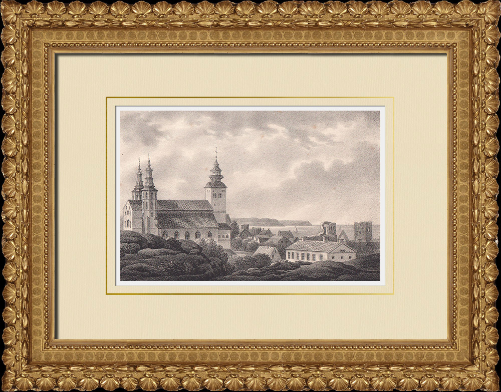 Grabados & Dibujos Antiguos | Catedral de Visby - Gotland (Suecia) | Litografía | 1840