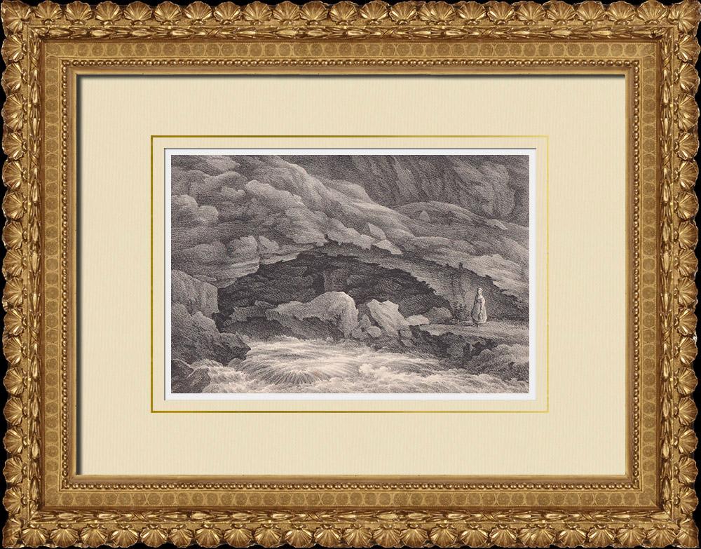 Stampe Antiche & Disegni | Lummelundagrottan - Mar Baltico - Gotland (Svezia) | Litografia | 1840
