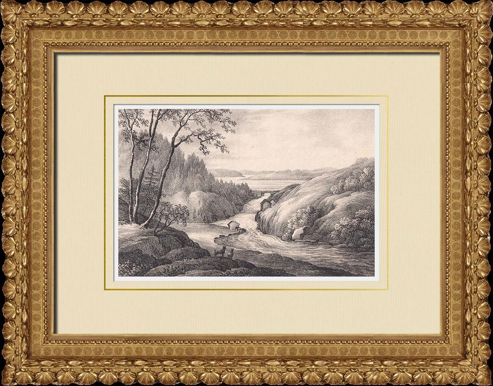 Gravures Anciennes & Dessins | Vue de Steneby - Laxviken - Dalsland (Suède) | Lithographie | 1840