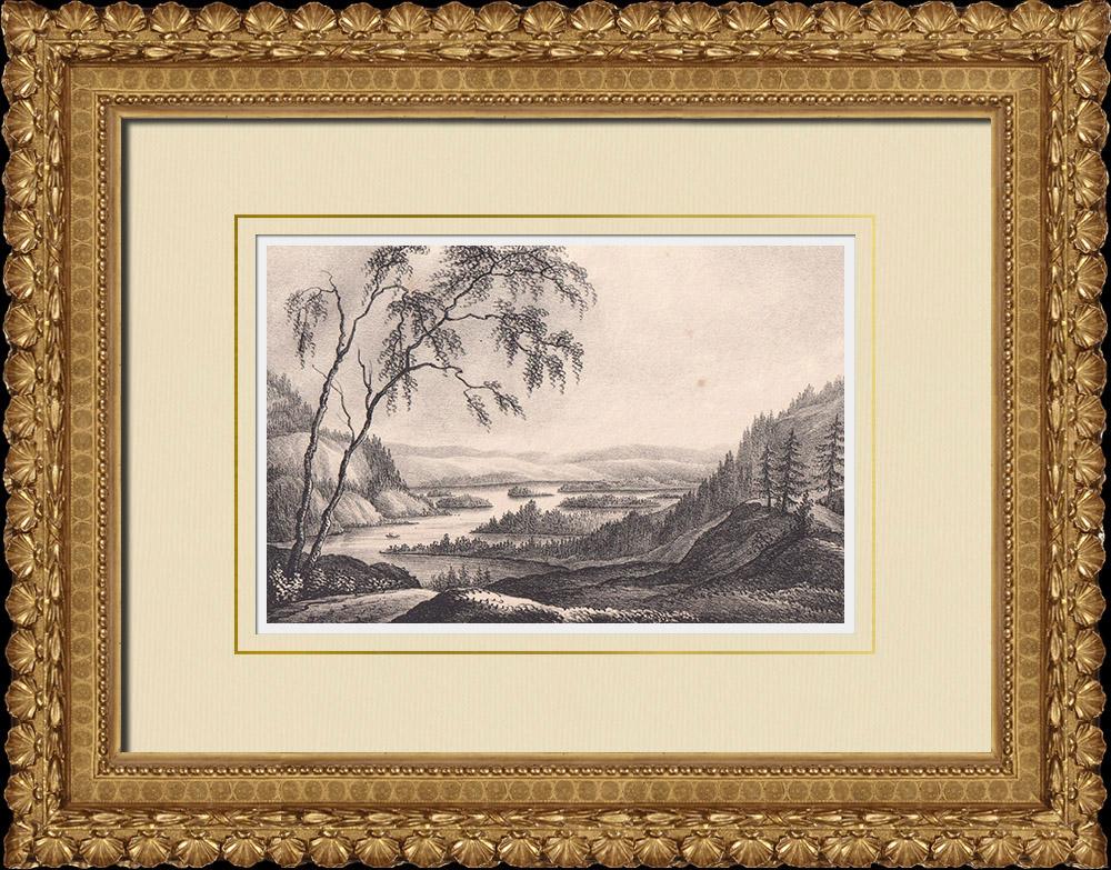 Gravures Anciennes & Dessins | Lac Ånimmen - Melleruds - Åmåls - Dalsland (Suède) | Lithographie | 1840