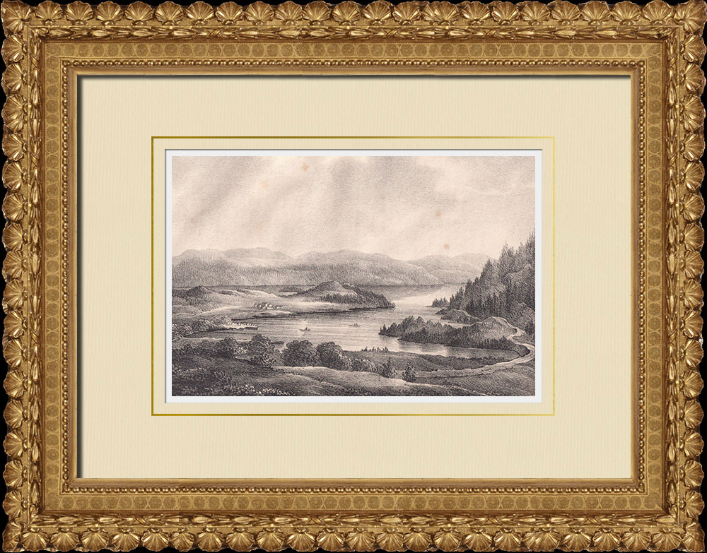 Antique Prints & Drawings   View of Hugnerud - Vänern lake - Dalsland (Sweden)   Lithography   1840