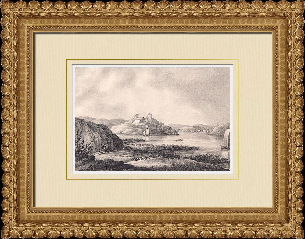 Antique Prints & Drawings | Bohus Fortress - Renaissance - Kungälv - Bohuslän (Sweden) | Lithography | 1840