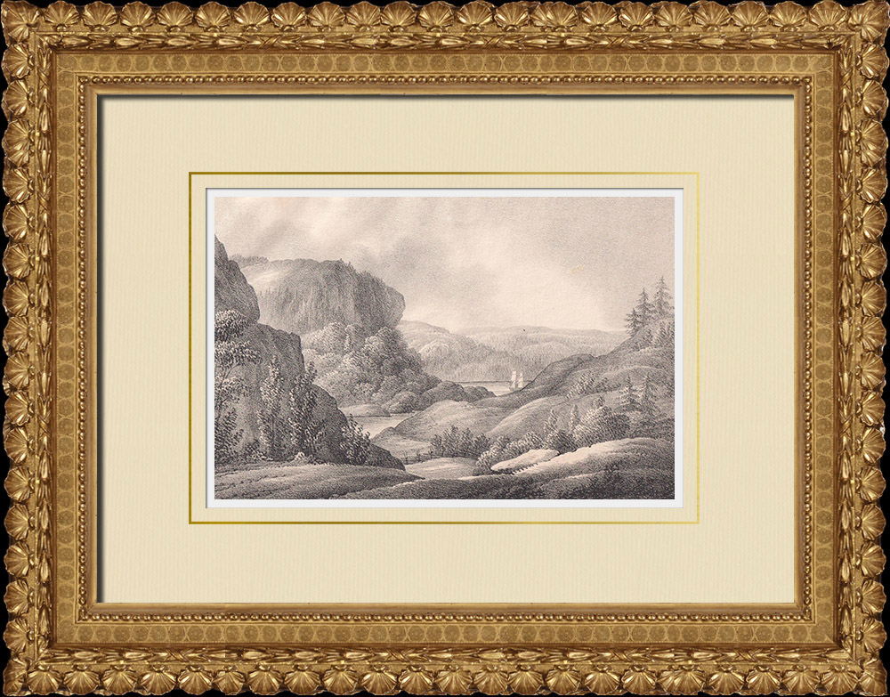 Antique Prints & Drawings | View of Svinesund - Iddefjord - Border between Norway and Sweden - Bohuslän (Sweden) | Lithography | 1840