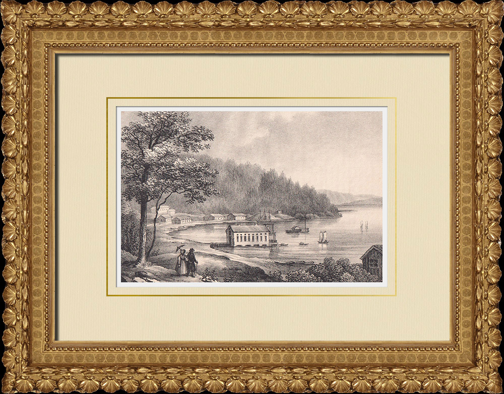 Antique Prints & Drawings | View of Gustafsberg - Thermae - Byfjorden - Bohuslän (Sweden) | Lithography | 1840