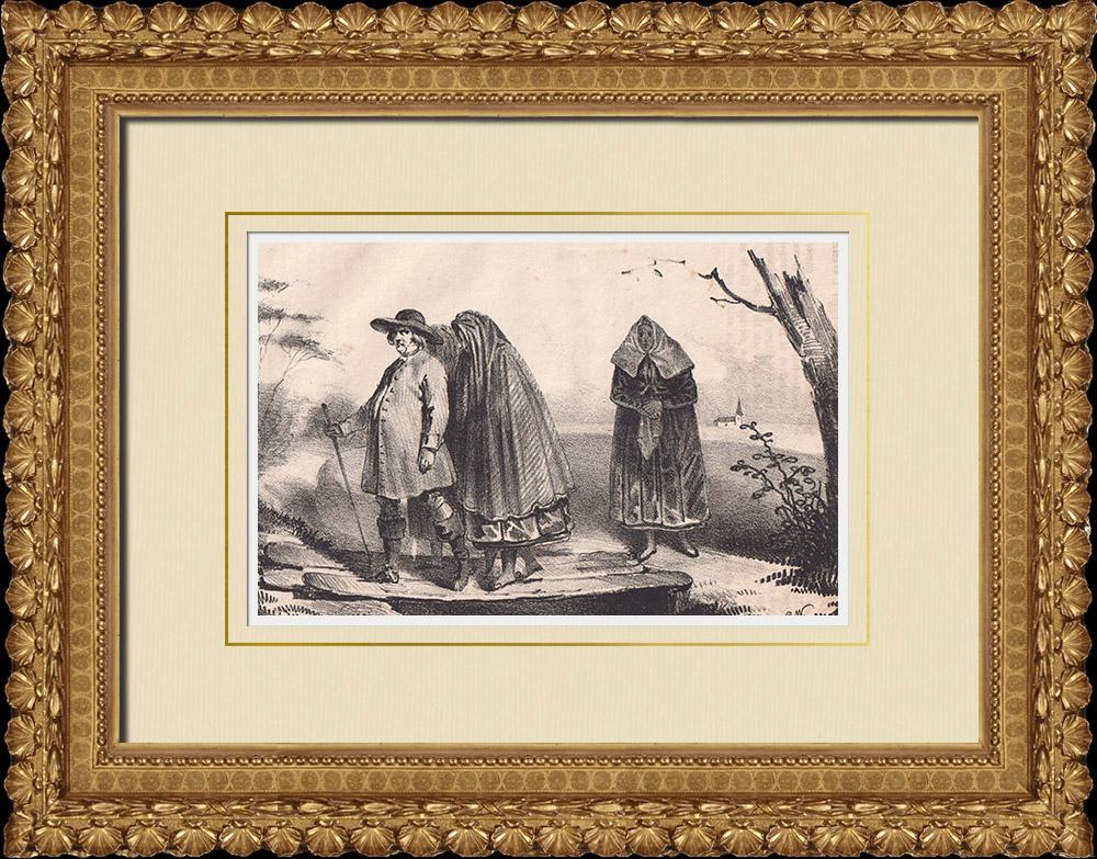 Stampe Antiche & Disegni | Costumi popolari di Scania - Regione storiche (Svezia) | Litografia | 1840