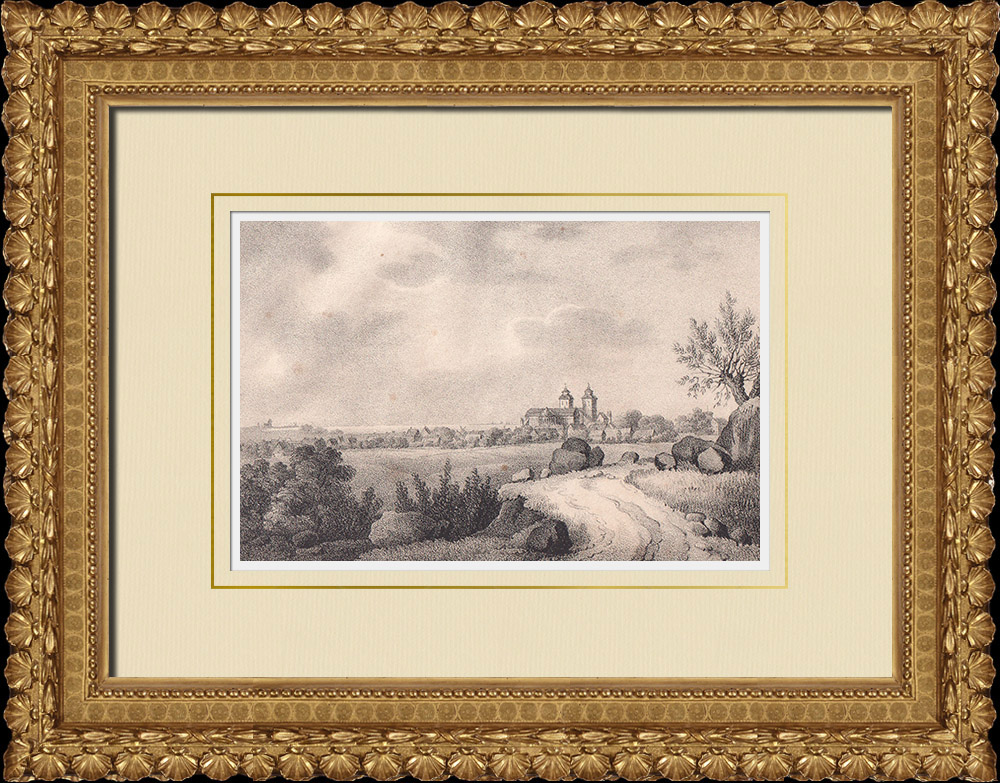 Antique Prints & Drawings | View of Lund - Cathedral - Scania (Sweden) | Lithography | 1840