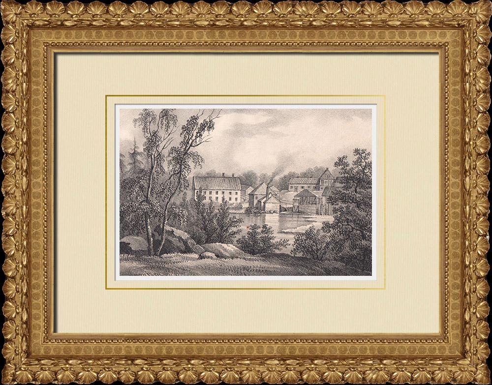Gravures Anciennes & Dessins | Klippans Pappersbruk - Fabrique de papier - Klippan - Scanie (Suède) | Lithographie | 1840