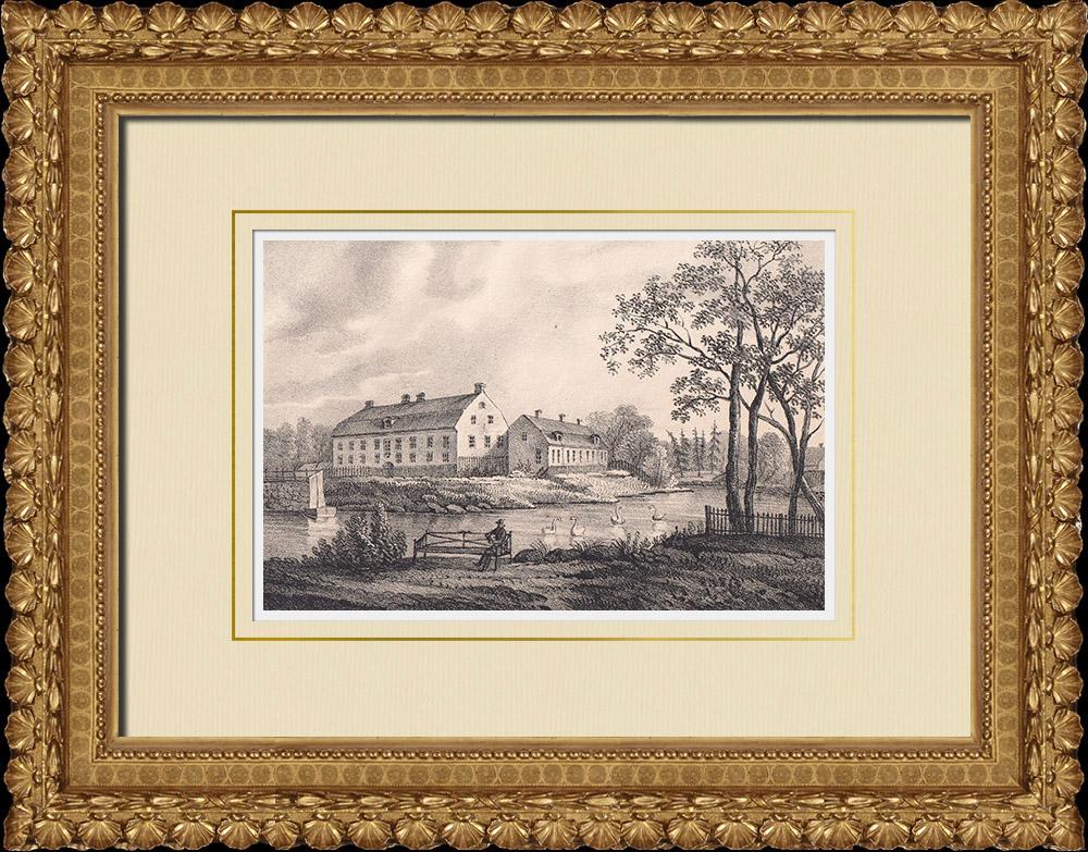 Grabados & Dibujos Antiguos | Castillo de Skabersjö - Svedala - Escania (Suecia) | Litografía | 1840