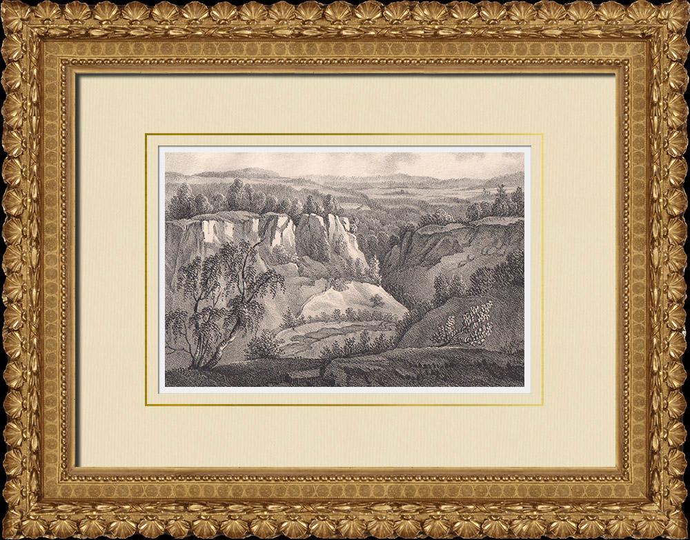 Stampe Antiche & Disegni | Valley di Skäralid - Klippan - Söderåsen - Scania (Svezia) | Litografia | 1840