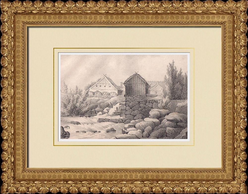 Antique Prints & Drawings | Skåne landscape - Fors kvarn - Klippan - Scania (Sweden) | Lithography | 1840