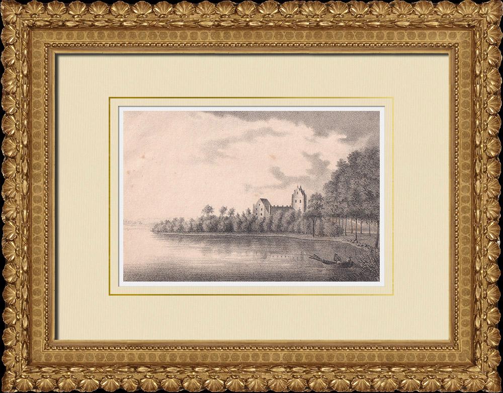 Grabados & Dibujos Antiguos | Vista de Bäckaskog - Kristianstad - Lagos - Escania (Suecia) | Litografía | 1840