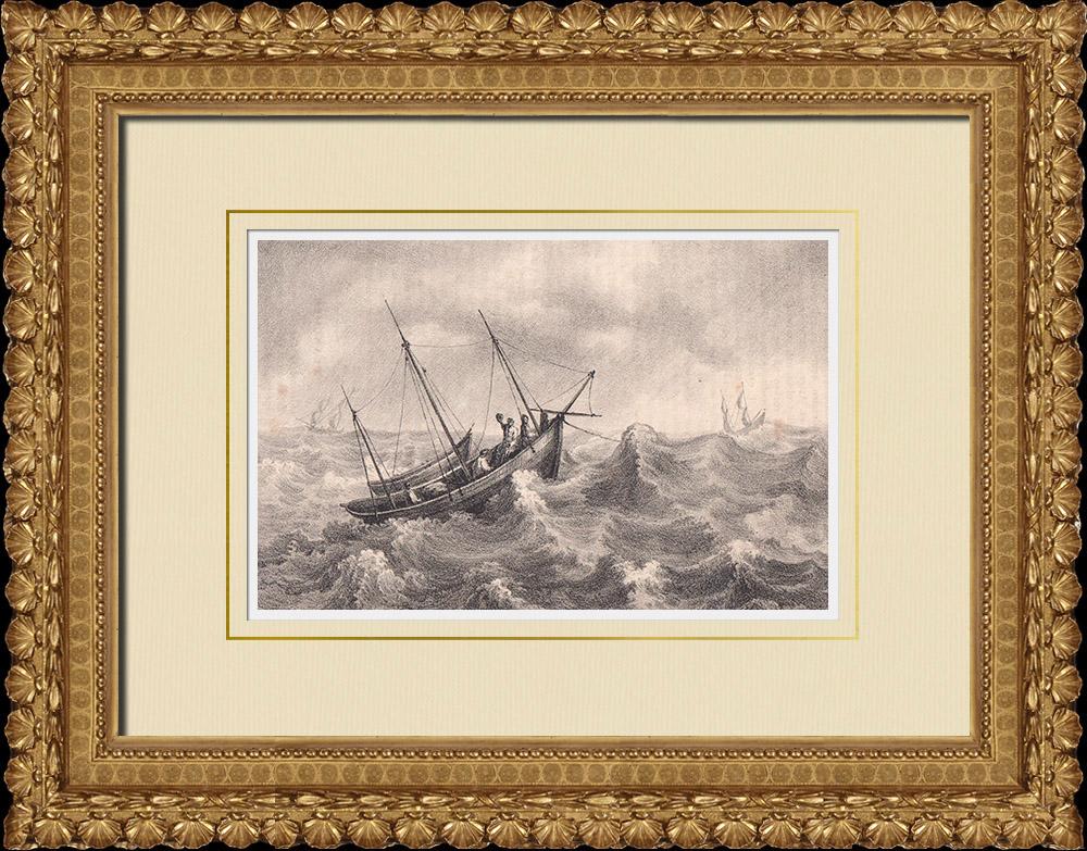 Grabados & Dibujos Antiguos   Pescadores de Halland - Lago - Mar Báltico - Halland (Suecia)   Litografía   1840