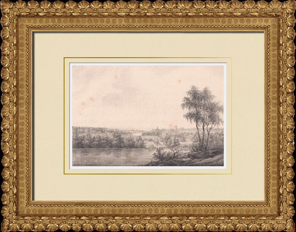 Stampe Antiche & Disegni | Veduta di Halmstad - Kattegat - Nissan - Halland (Svezia) | Litografia | 1840