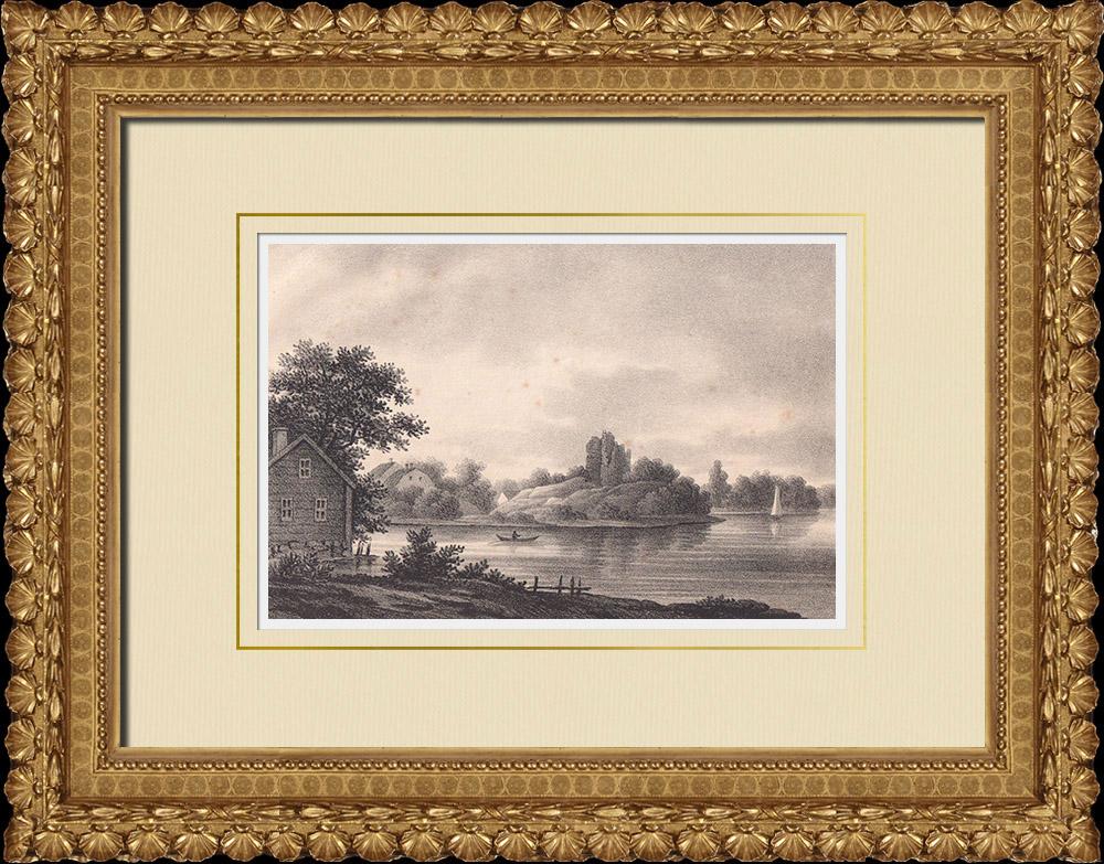 Stampe Antiche & Disegni   Castello di Sölvesborgs - Blekinge (Svezia)   Litografia   1840
