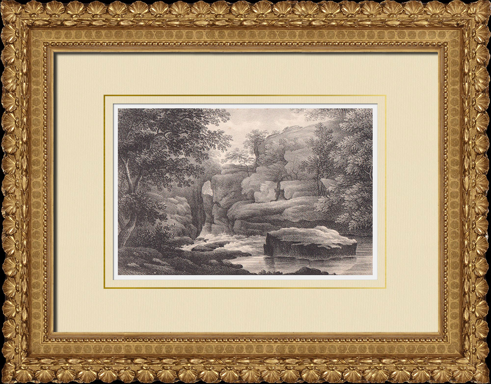 Stampe Antiche & Disegni | Djupadal - Cascata - Scogliera - Ponte - Ronneby - Blekinge (Svezia) | Litografia | 1840