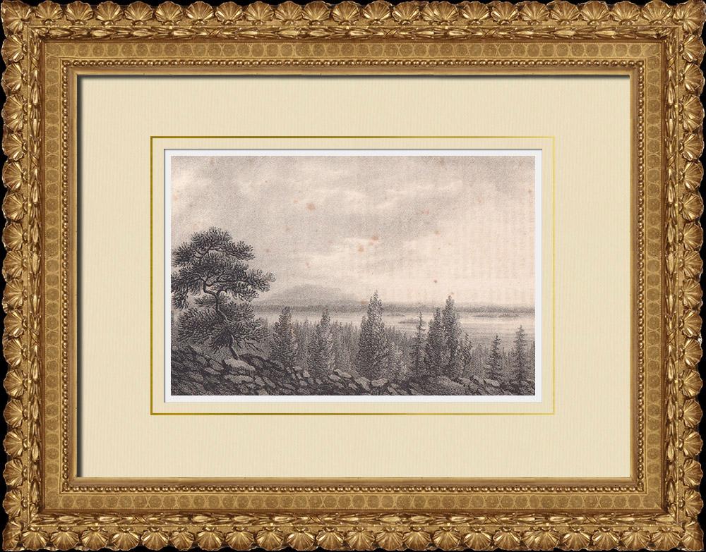 Stampe Antiche & Disegni | Vista della montagna di Åreskutan - Åre - Norrland (Svezia) | Litografia | 1840
