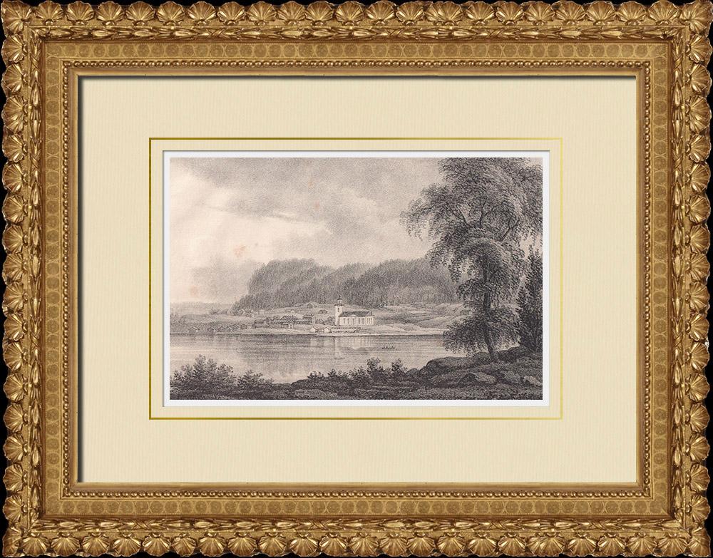 Grabados & Dibujos Antiguos | Hofvermoberget - Lago Storsjön - Iglesia - Norrland (Suecia) | Litografía | 1840